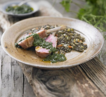 Rack of lamb with lentils & Jack-by-the-hedge sauce
