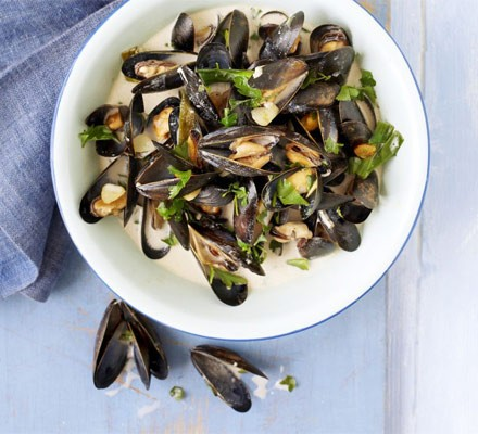 Steamed mussels with cider, spring onions & cream