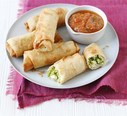 Pea, feta & quinoa spring rolls with roast tomato nam prik