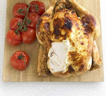 Herby cheese roast chicken & baked tomatoes