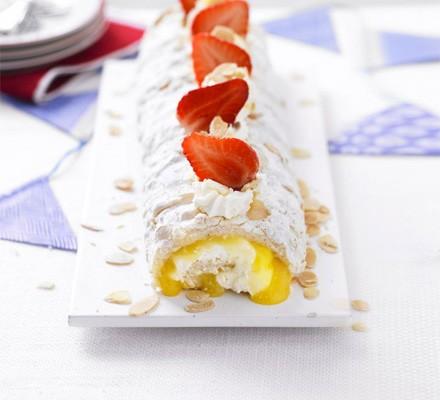 Almond & lemon meringue roulade