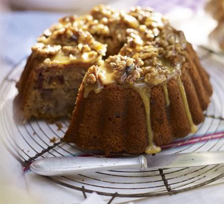 Banana date cake with walnut & honey glaze