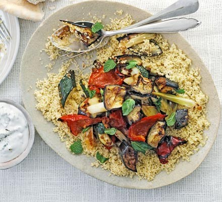 Moroccan roasted veg with tahini dressing