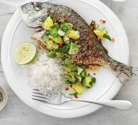 Fish with chilli, mango & lime salsa image