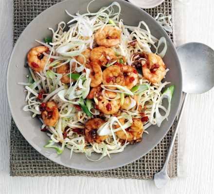 Garlic chilli prawns with sesame noodles