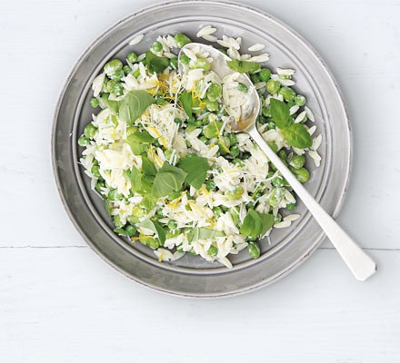 Broad bean, pea & orzo salad