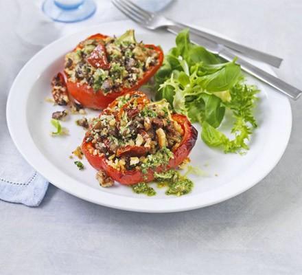 Mushroom, walnut & tomato baked peppers