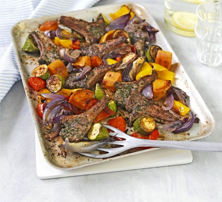 Herbed lamb cutlets with roasted vegetables