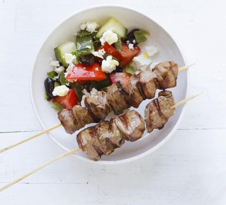 Lamb kebabs & Greek salad