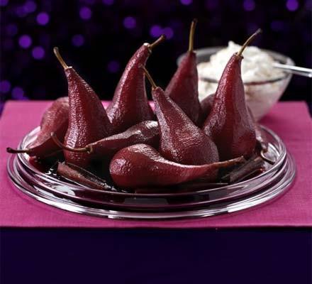 Pears in port with meringue cream