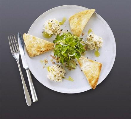 Crab mayonnaise with Melba toast & herb salad