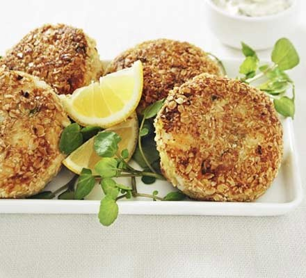 Smoky fishcakes with oat crumb