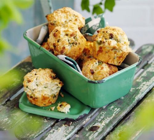 Cheese and chive muffins in lunchbox