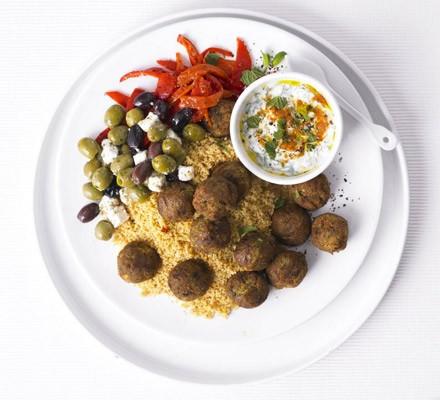 Couscous & falafel salad with minty yogurt