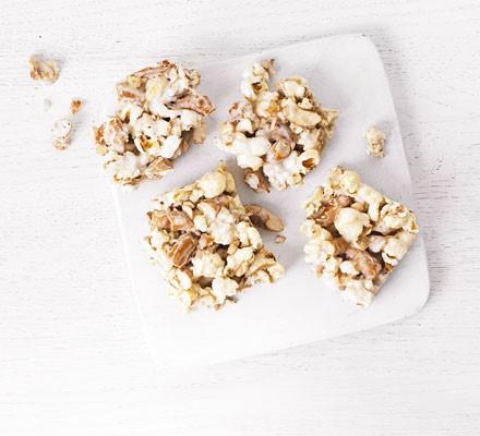 Pretzel popcorn squares