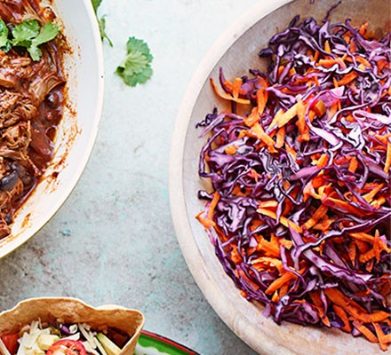 Red cabbage & pickled chilli slaw served in a bowl
