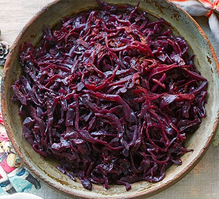 Red cabbage with port, prunes & orange served in a bowl