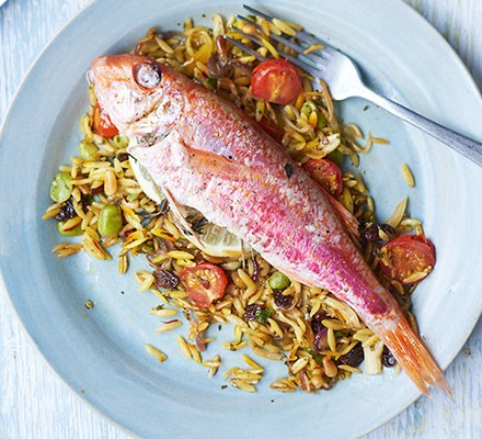 A plate of red mullet with saffron baked orzo & broad beans