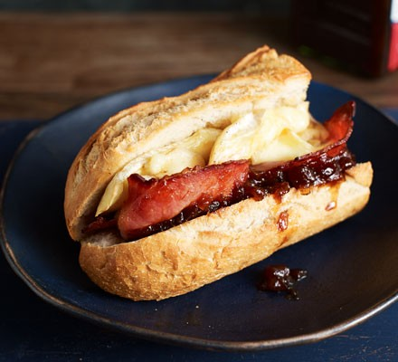 Bacon, brie and red onion baguettes