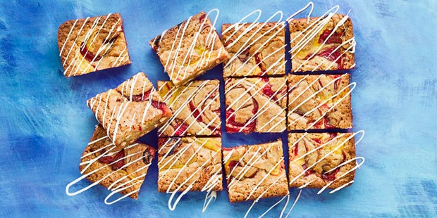 Rhubarb and custard blondies cut into squares