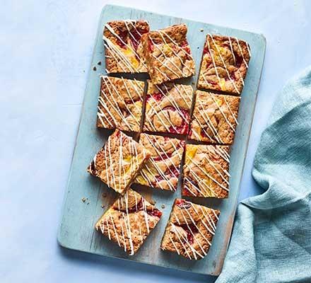 Rhubarb & custard blondies served on a tray