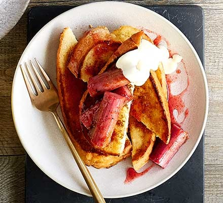 Rhubarb & custard French toast served on a plate