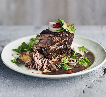 Asian Short Ribs With Herb Salad Recipe Bbc Good Food