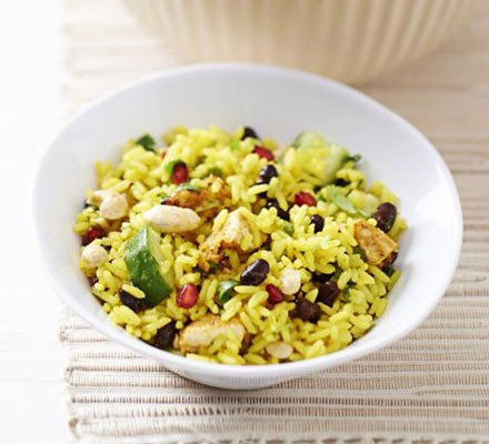 Indian rice salad with chicken