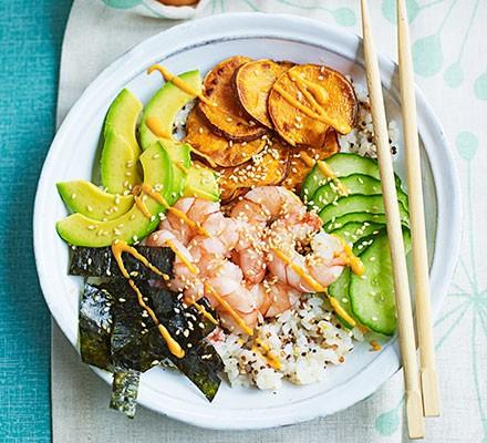 Rice & quinoa prawn sushi bowl served with chopsticks