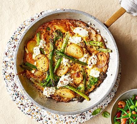 Ricotta, broccoli, & new potato frittata served in a pan