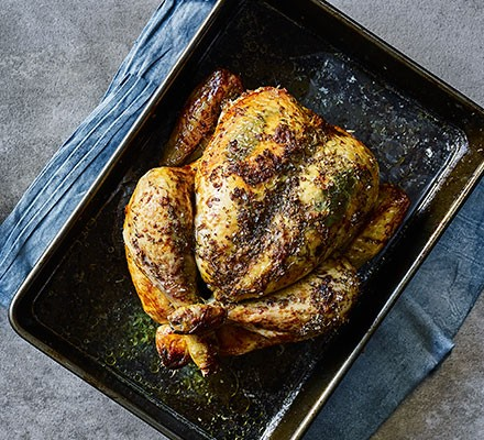 Easy roast chicken in a roasting tin