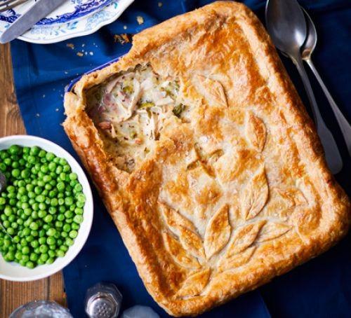 Rectangular roast chicken pie in dish