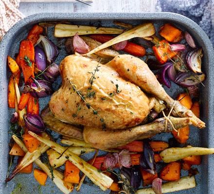 Roast chicken & roots