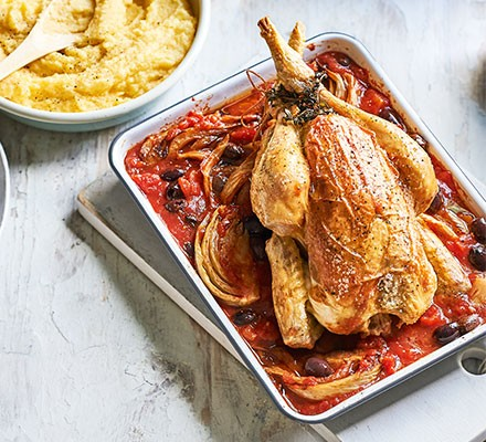 Roast chicken with fennel & olives served in a casserole dish
