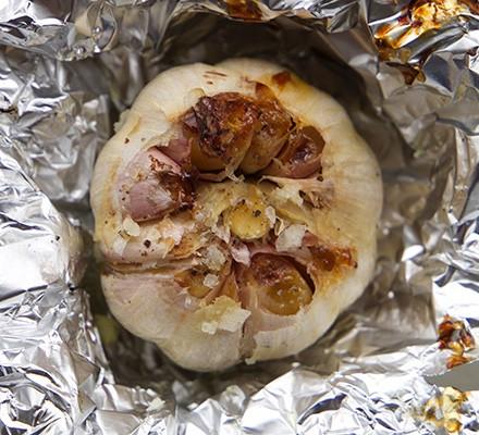 Roast garlic in foil