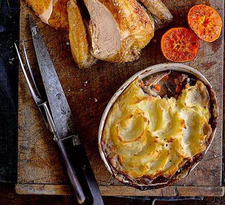 Roast guinea fowl crown with leg 'shepherd's pie' alongside