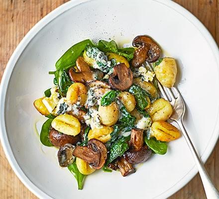 Roast mushroom gnocchi in a bowl
