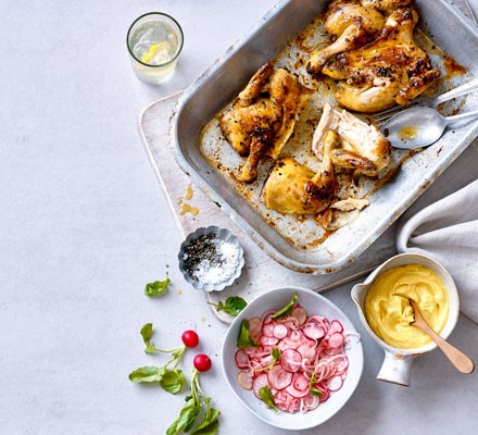 Roast poussin with pickled radishes