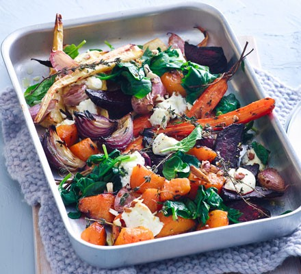 Roast roots with goat's cheese & spinach