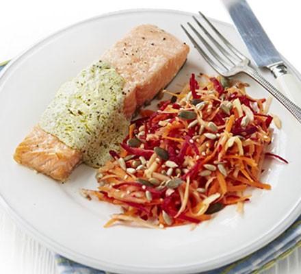 Roast salmon with pesto sauce & beetroot slaw