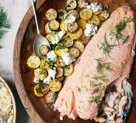 Roast salmon with preserved lemon