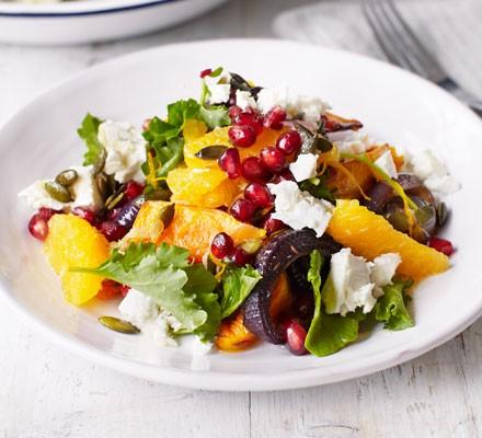 Roast squash & kale salad with orange dressing