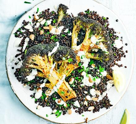 Roasted broccoli, puy lentils & tahini yogurt
