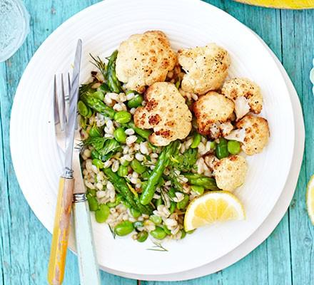 Roasted cauliflower with spring veg & barley salad