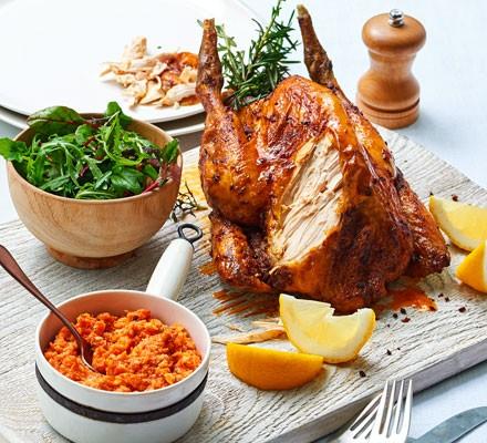 Roasted guinea fowl with romesco