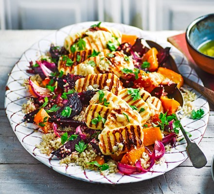 Roasted vegetable quinoa salad with riddled halloumi 2016
