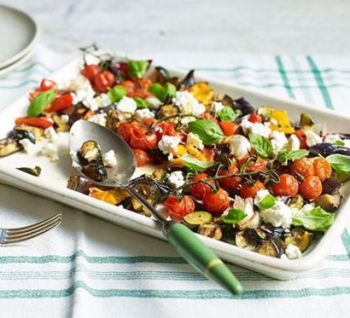 Roasted vegetables with feta on tray