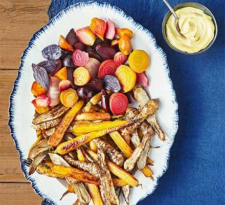 Roasted winter vegetables with smoked mayo served on a plate