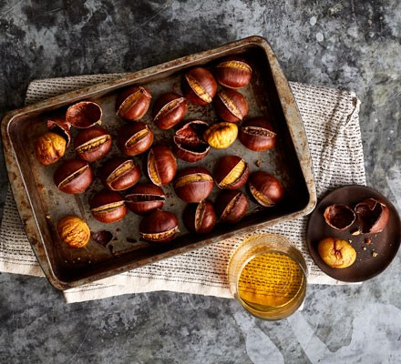 Chestnuts on tray