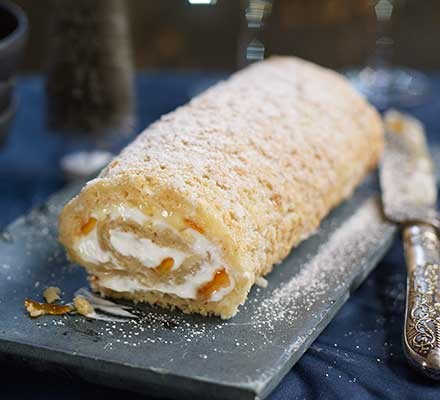 Ginger & marmalade roulade served on a slate